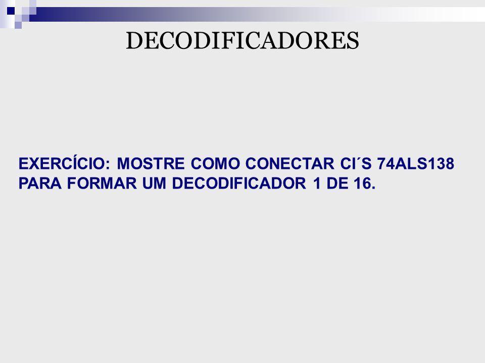 DECODIFICADORES EXERCÍCIO: MOSTRE COMO CONECTAR CI´S 74ALS138 PARA FORMAR UM DECODIFICADOR 1 DE 16.