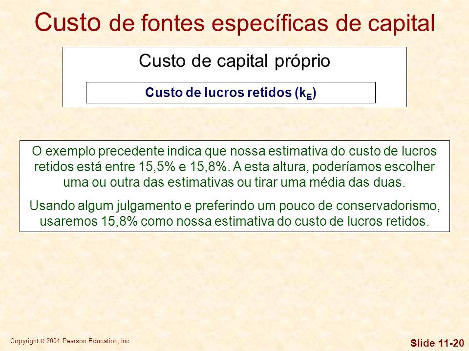 Custo de lucros retidos (kE)