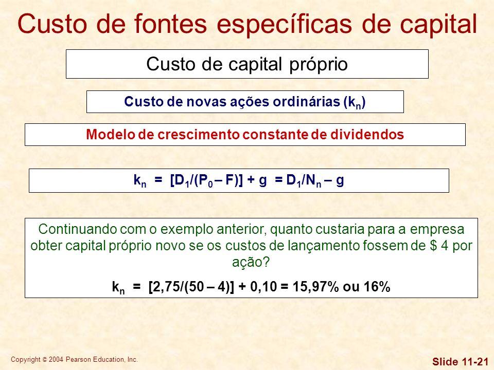 Custo de fontes específicas de capital
