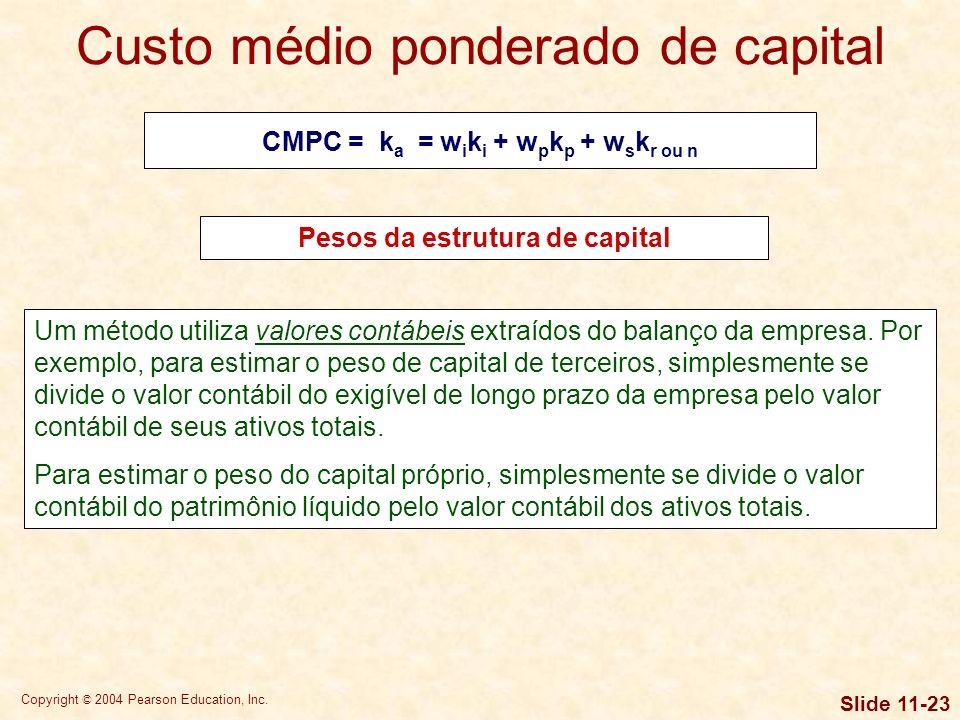 CMPC = ka = wiki + wpkp + wskr ou n Pesos da estrutura de capital
