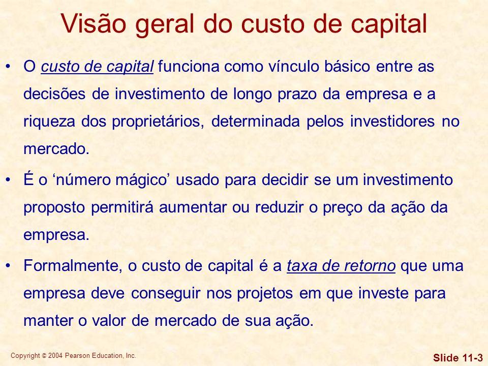 Visão geral do custo de capital