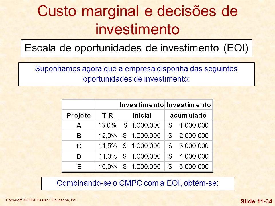 Custo marginal e decisões de investimento