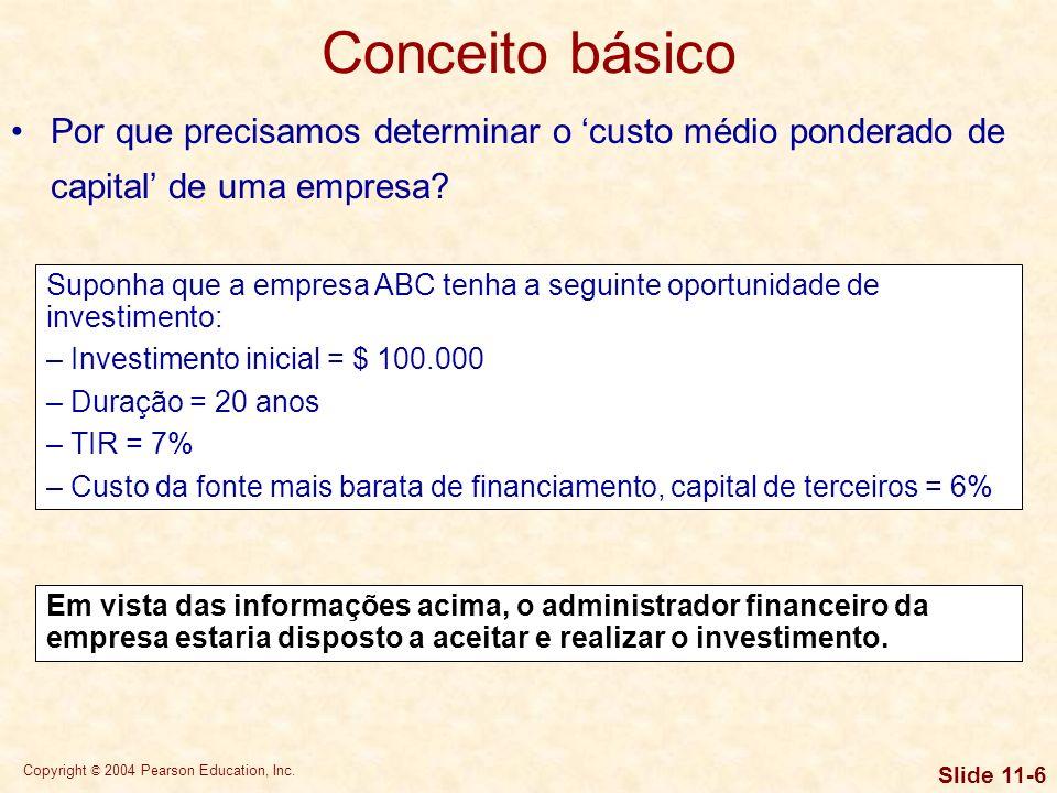 Conceito básico Por que precisamos determinar o 'custo médio ponderado de capital' de uma empresa