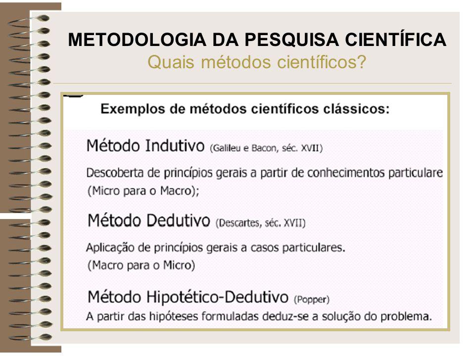METODOLOGIA DA PESQUISA CIENTÍFICA Quais métodos científicos