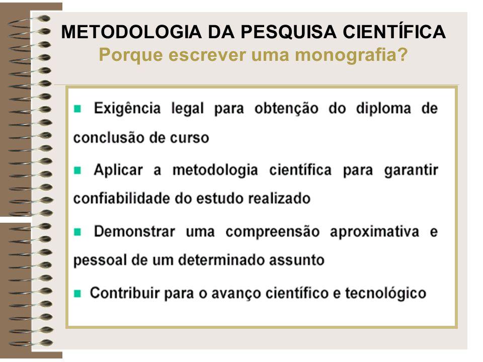 METODOLOGIA DA PESQUISA CIENTÍFICA Porque escrever uma monografia