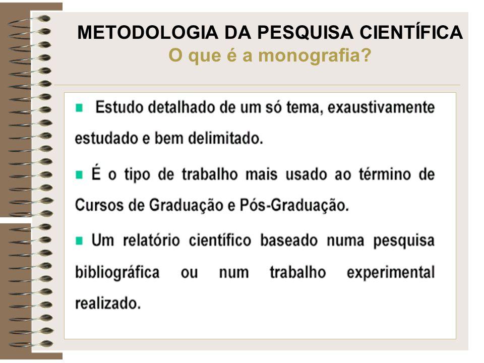 METODOLOGIA DA PESQUISA CIENTÍFICA O que é a monografia