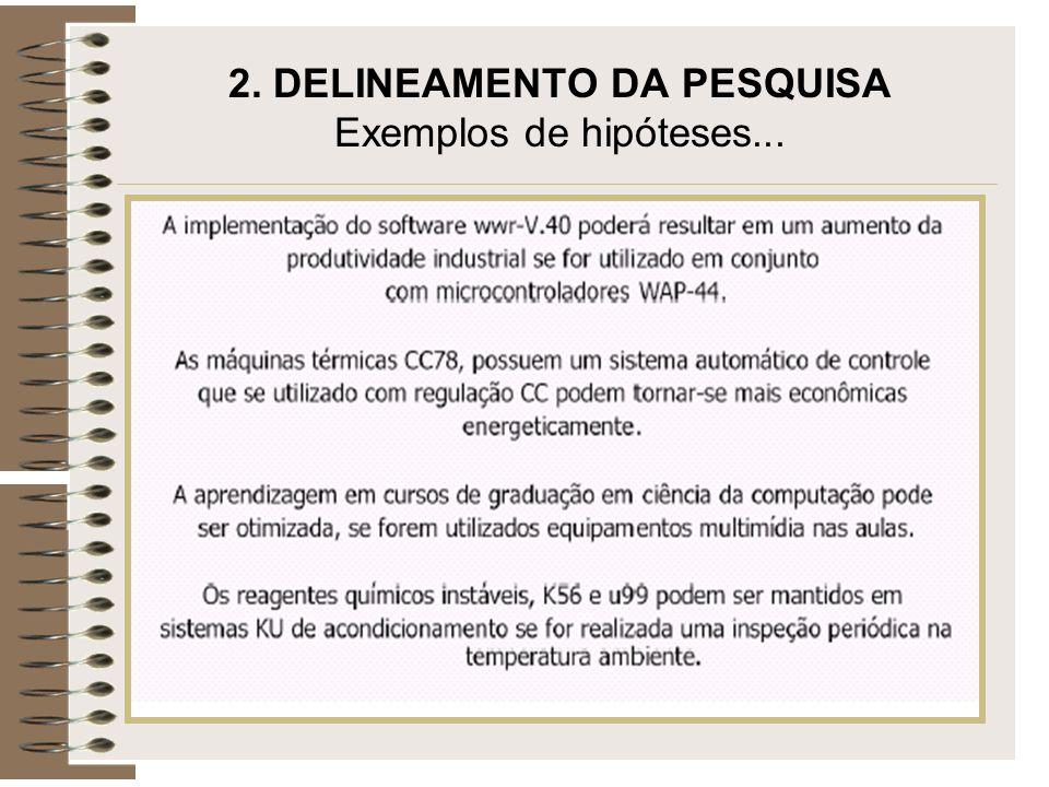 2. DELINEAMENTO DA PESQUISA Exemplos de hipóteses...