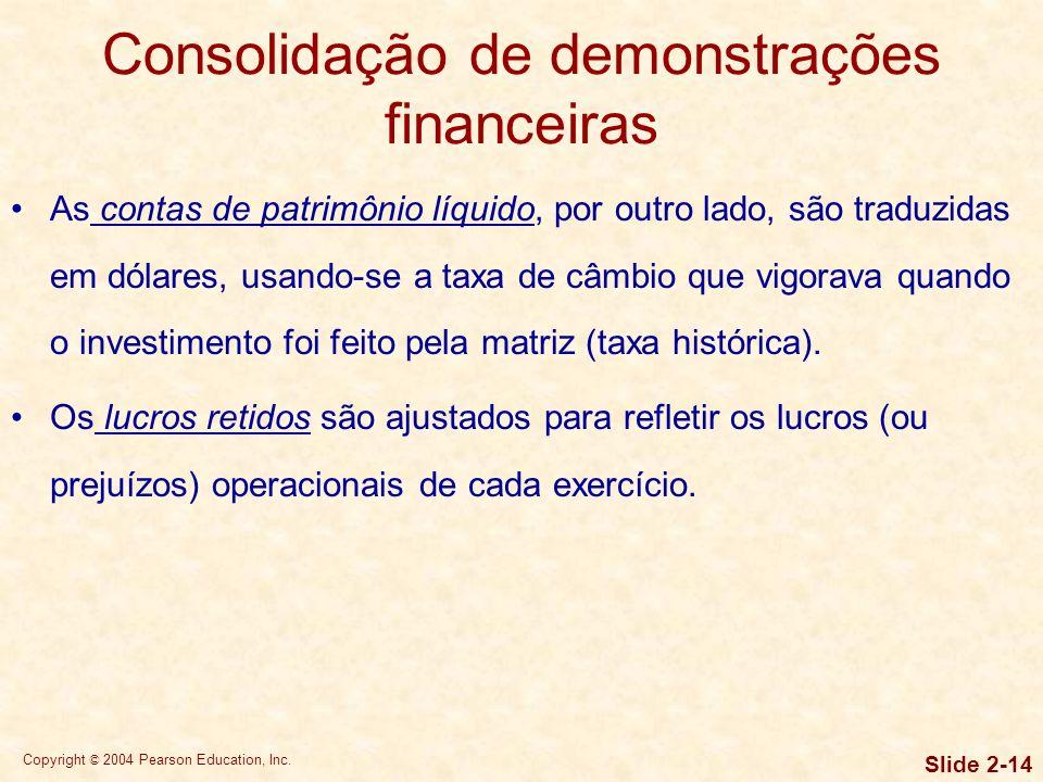 Consolidação de demonstrações financeiras