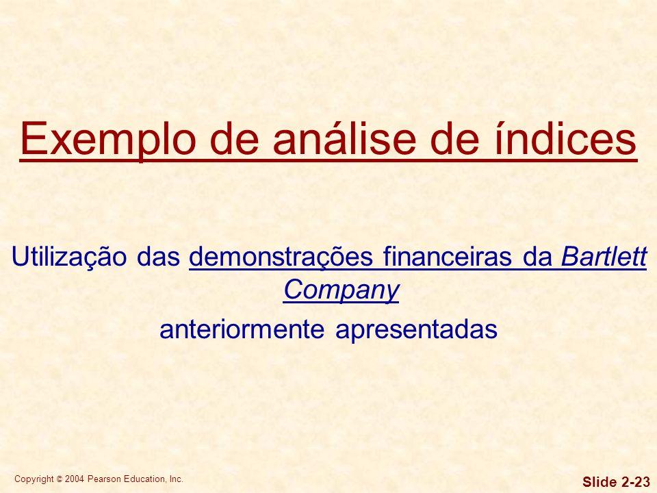 Exemplo de análise de índices