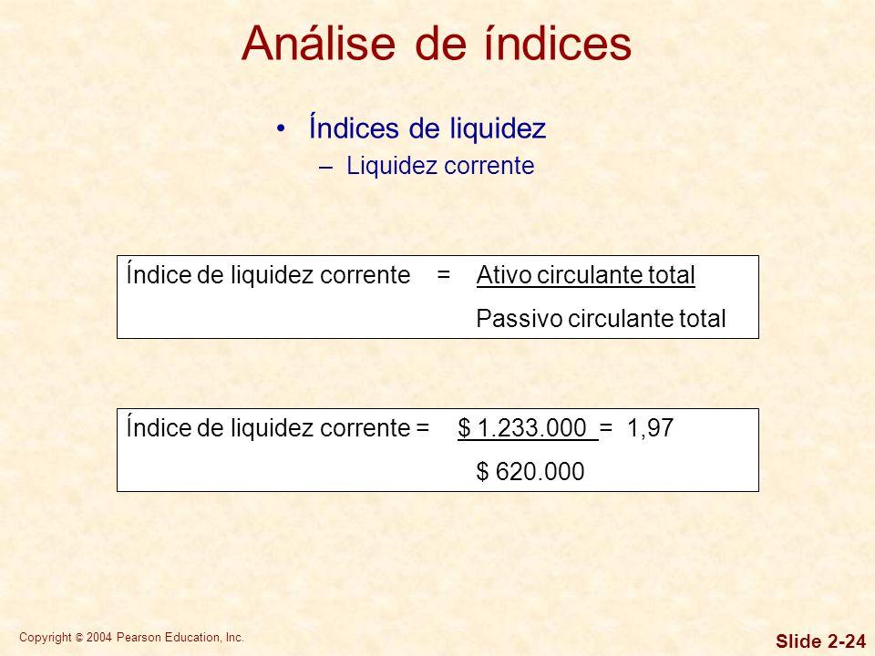 Análise de índices Índices de liquidez Liquidez corrente
