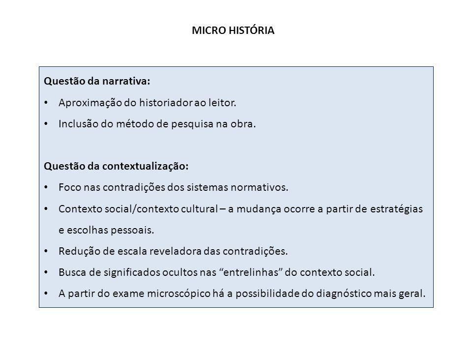 MICRO HISTÓRIA Questão da narrativa: Aproximação do historiador ao leitor. Inclusão do método de pesquisa na obra.