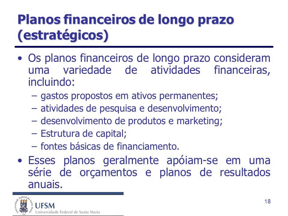 Planos financeiros de longo prazo (estratégicos)