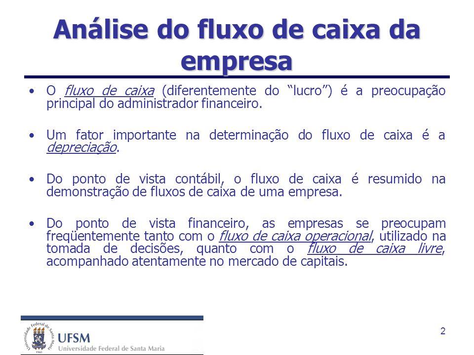 Análise do fluxo de caixa da empresa