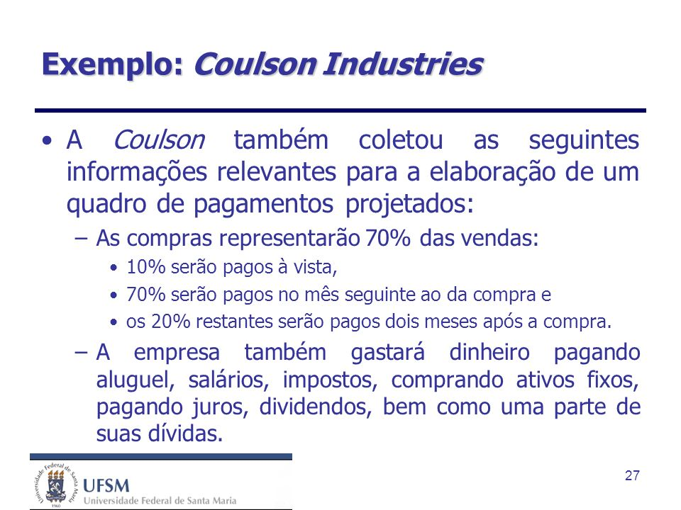 Exemplo: Coulson Industries