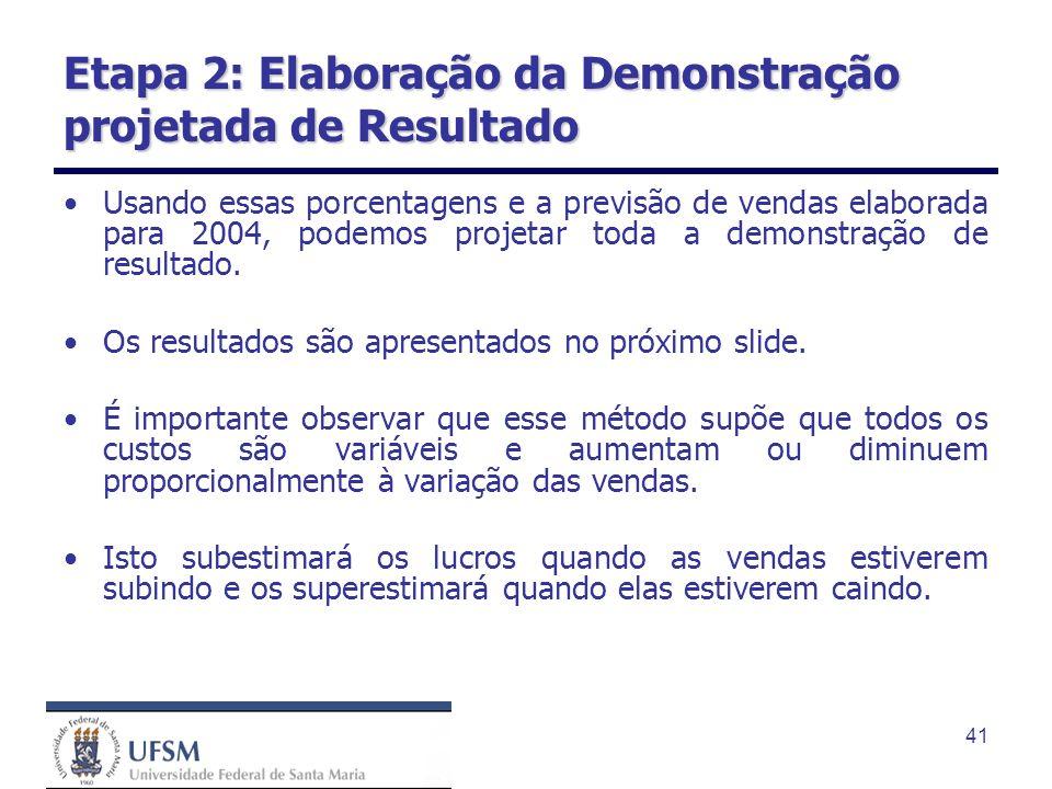 Etapa 2: Elaboração da Demonstração projetada de Resultado