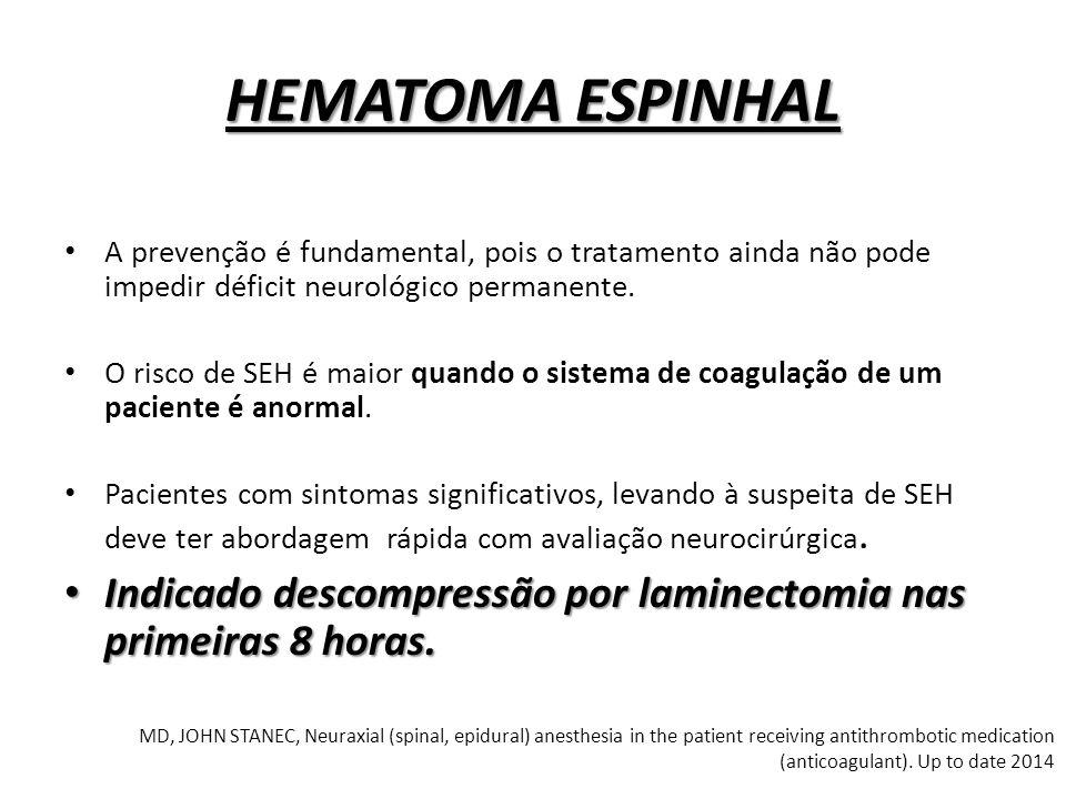 HEMATOMA ESPINHAL A prevenção é fundamental, pois o tratamento ainda não pode impedir déficit neurológico permanente.