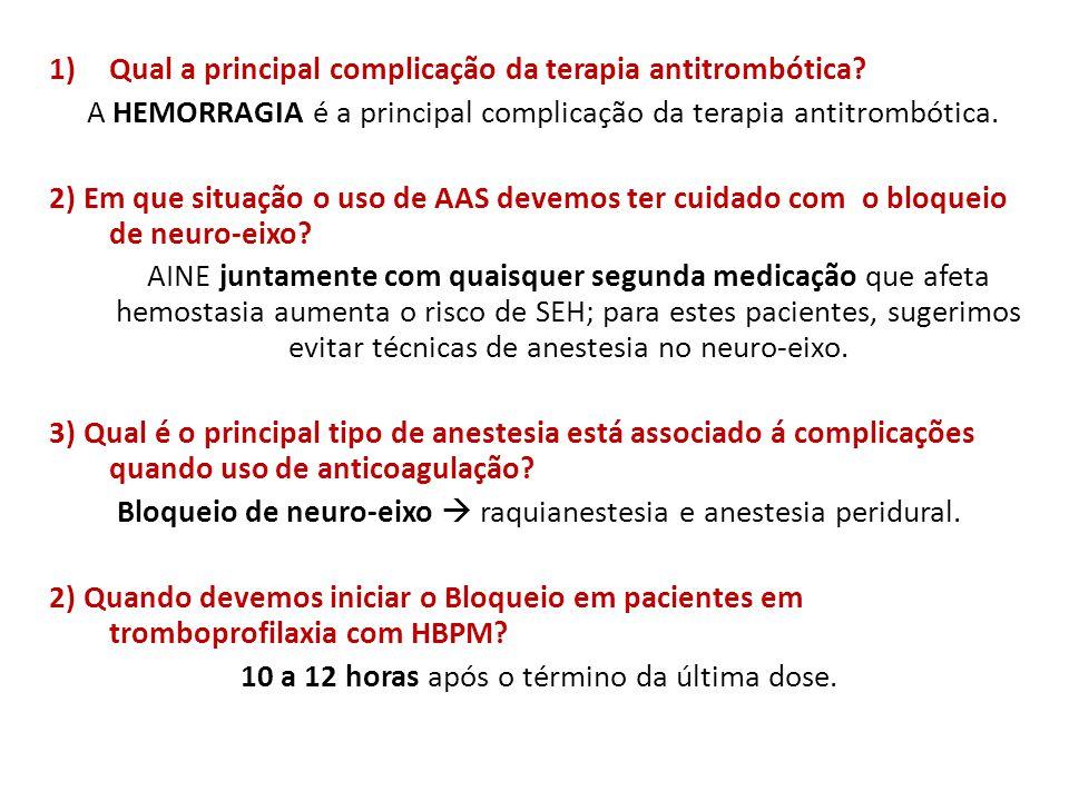 Qual a principal complicação da terapia antitrombótica