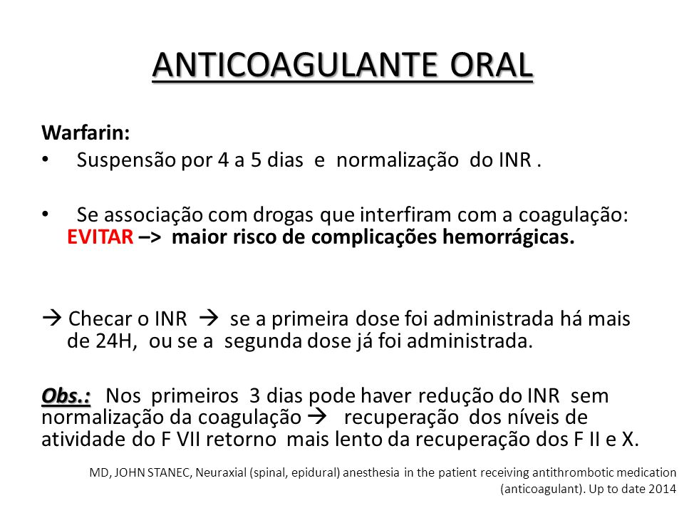 ANTICOAGULANTE ORAL Warfarin: