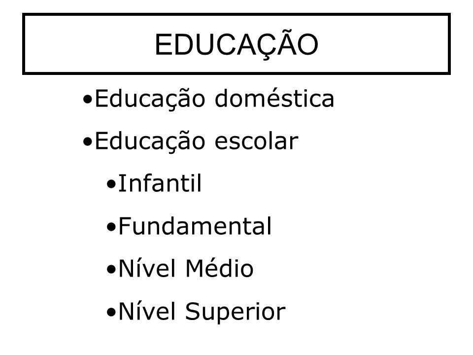 EDUCAÇÃO Educação doméstica Educação escolar Infantil Fundamental