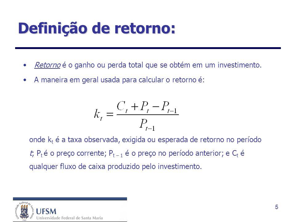 Definição de retorno: Retorno é o ganho ou perda total que se obtém em um investimento. A maneira em geral usada para calcular o retorno é: