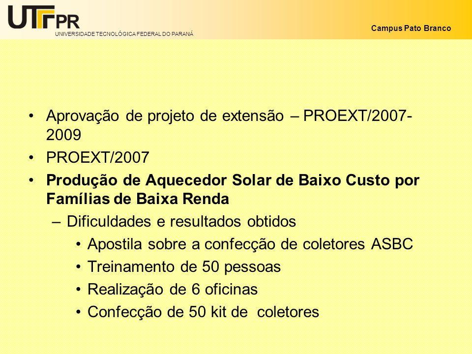 Aprovação de projeto de extensão – PROEXT/2007-2009