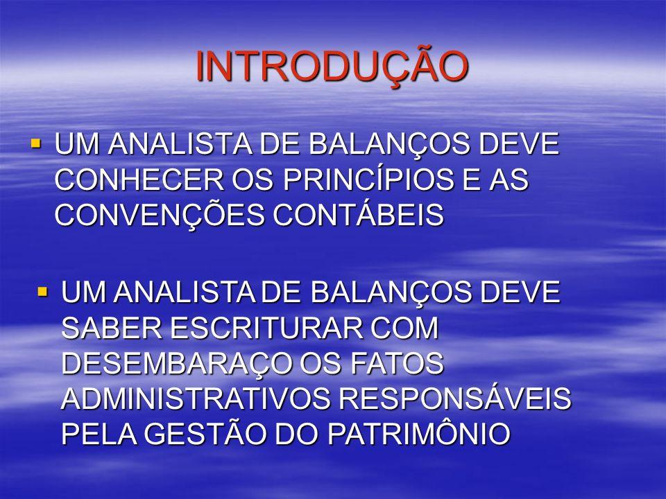 INTRODUÇÃOUM ANALISTA DE BALANÇOS DEVE CONHECER OS PRINCÍPIOS E AS CONVENÇÕES CONTÁBEIS.