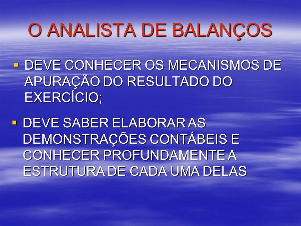 O ANALISTA DE BALANÇOSDEVE CONHECER OS MECANISMOS DE APURAÇÃO DO RESULTADO DO EXERCÍCIO;