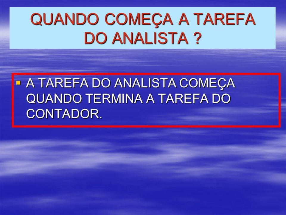 QUANDO COMEÇA A TAREFA DO ANALISTA