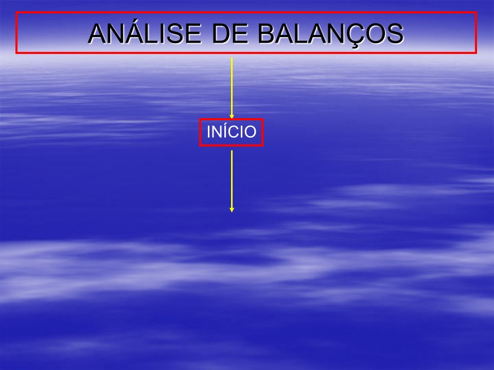 ANÁLISE DE BALANÇOS INÍCIO