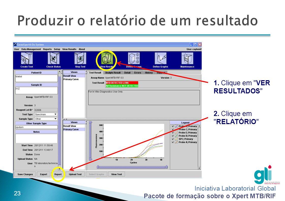 Produzir o relatório de um resultado