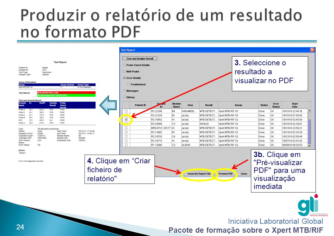Produzir o relatório de um resultado no formato PDF