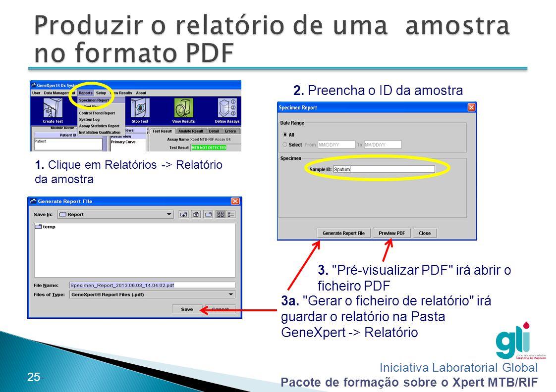 Produzir o relatório de uma amostra no formato PDF