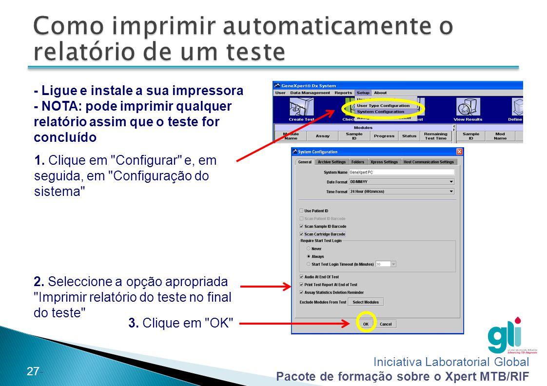 Como imprimir automaticamente o relatório de um teste