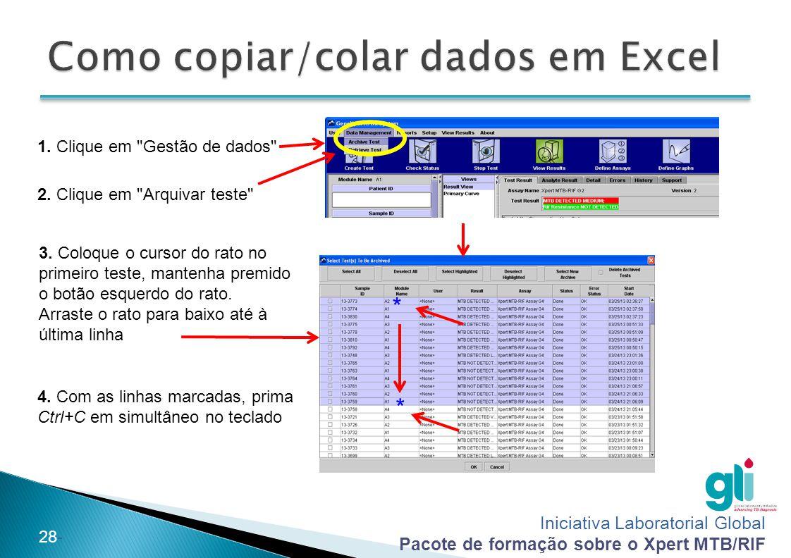 Como copiar/colar dados em Excel