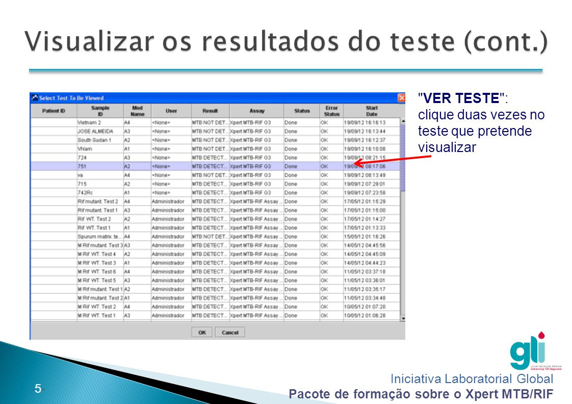 Visualizar os resultados do teste (cont.)