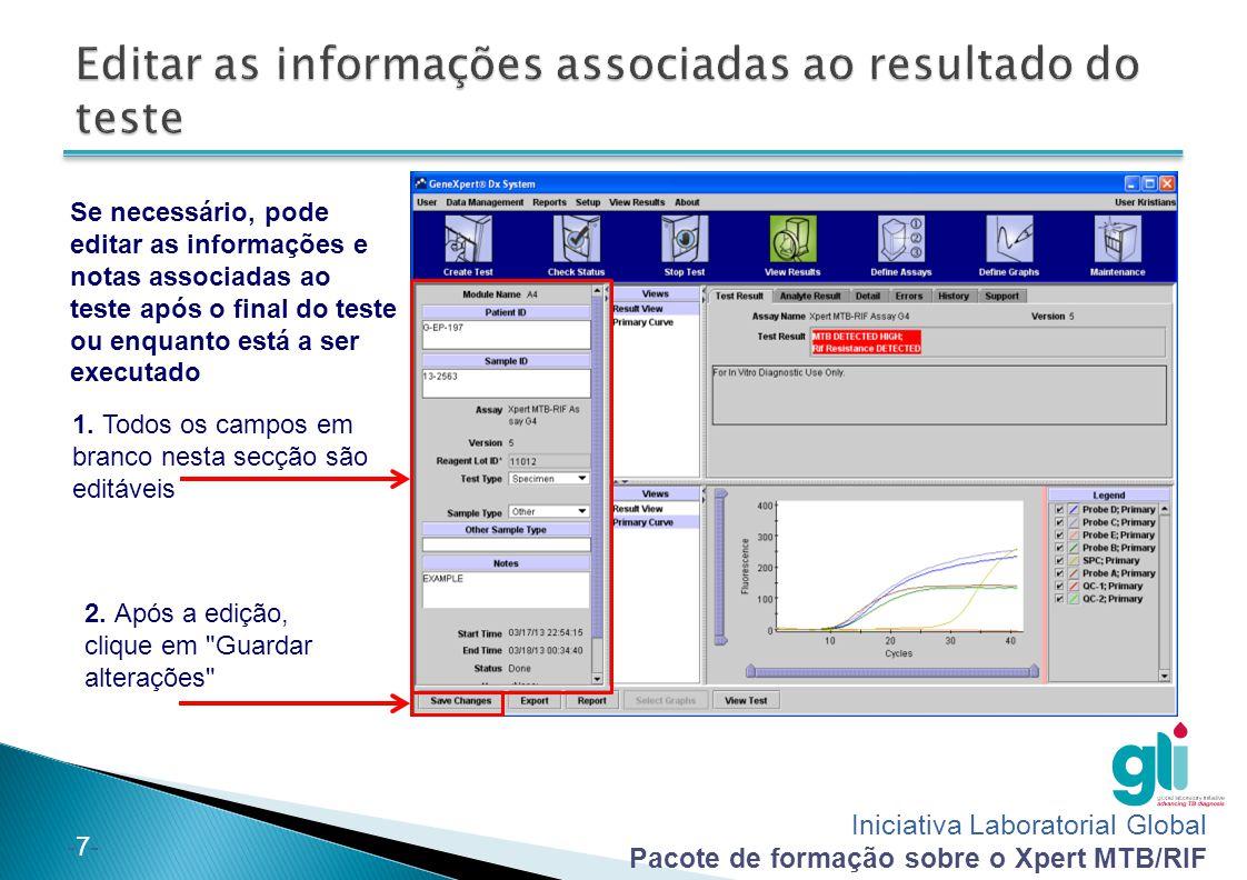Editar as informações associadas ao resultado do teste