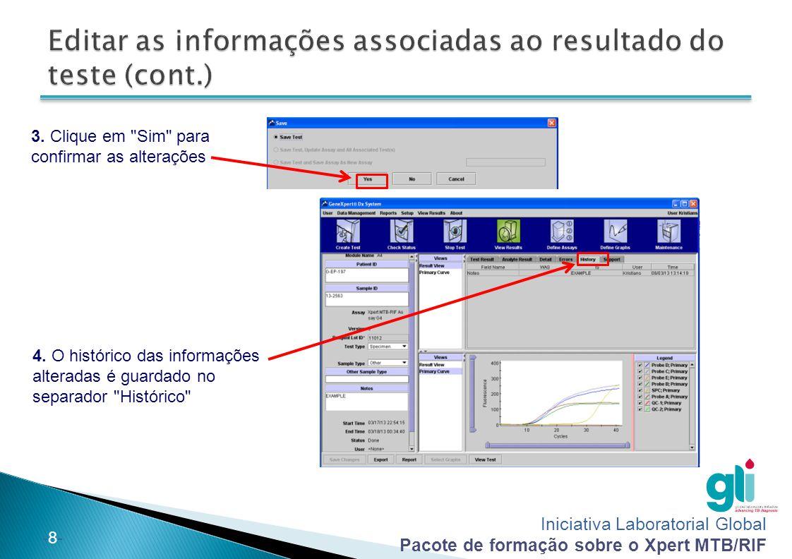 Editar as informações associadas ao resultado do teste (cont.)