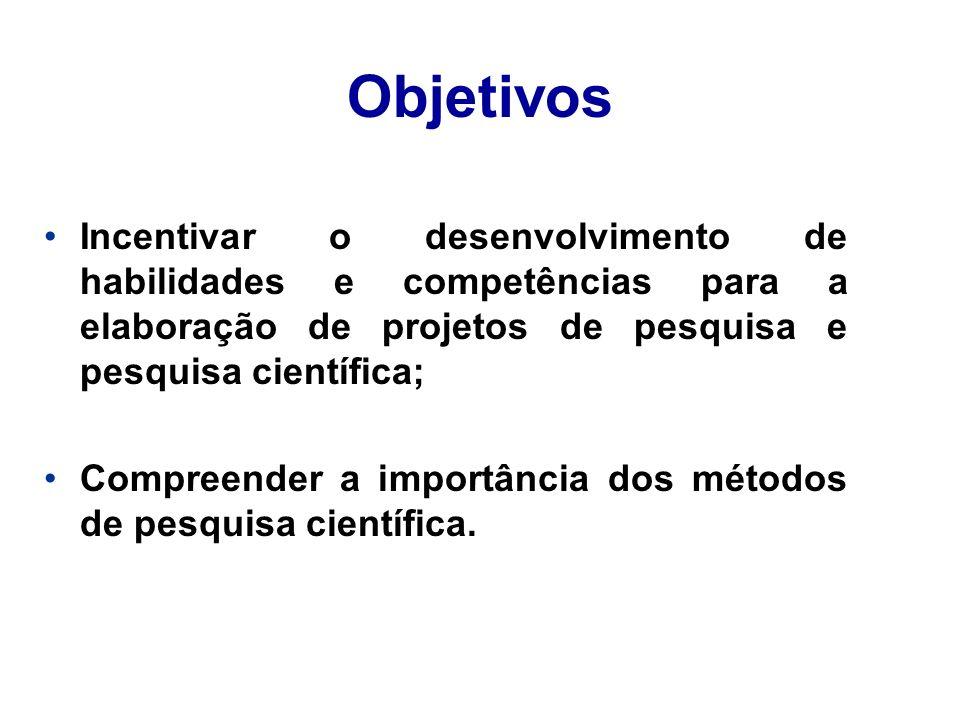 Objetivos Incentivar o desenvolvimento de habilidades e competências para a elaboração de projetos de pesquisa e pesquisa científica;