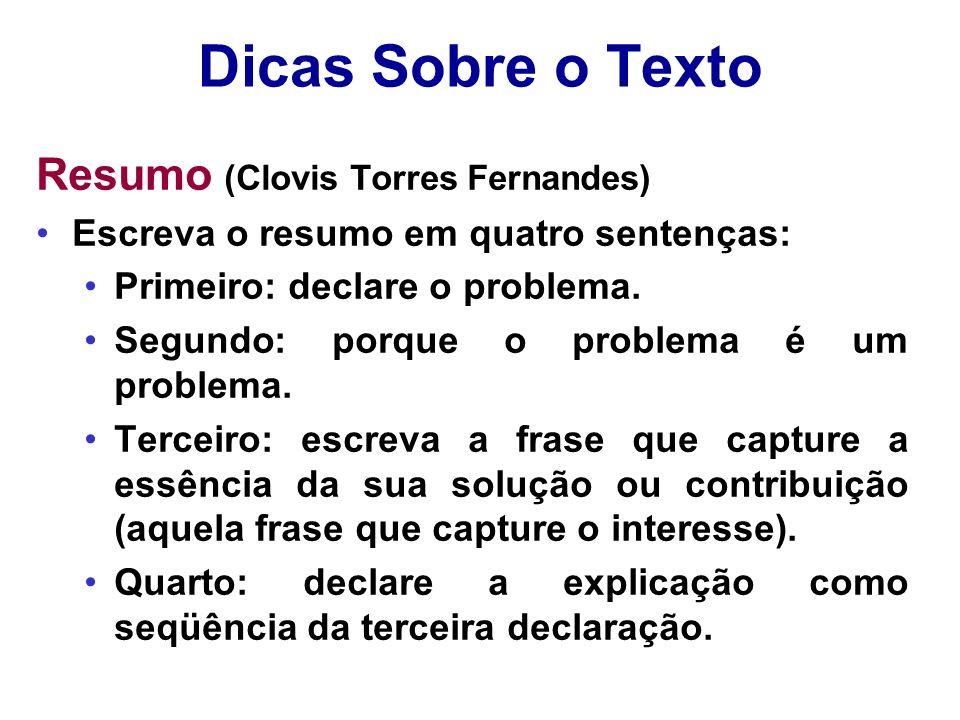 Dicas Sobre o Texto Resumo (Clovis Torres Fernandes)
