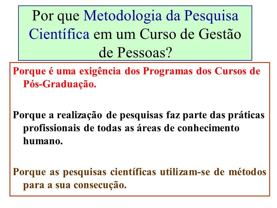 Por que Metodologia da Pesquisa Científica em um Curso de Gestão de Pessoas