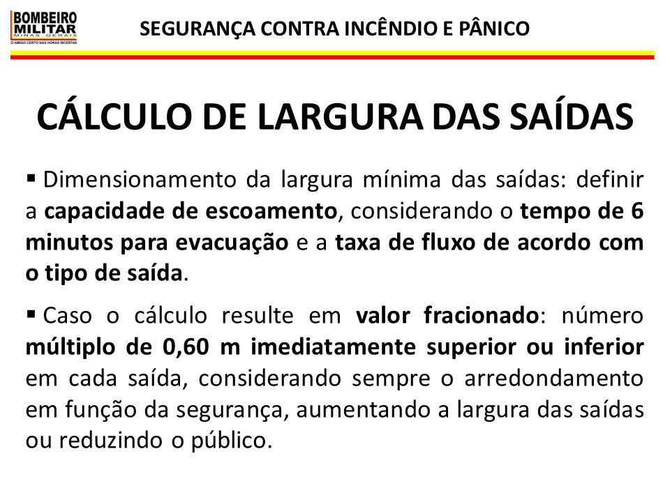 SEGURANÇA CONTRA INCÊNDIO E PÂNICO CÁLCULO DE LARGURA DAS SAÍDAS