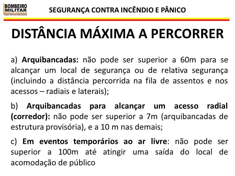 SEGURANÇA CONTRA INCÊNDIO E PÂNICO DISTÂNCIA MÁXIMA A PERCORRER