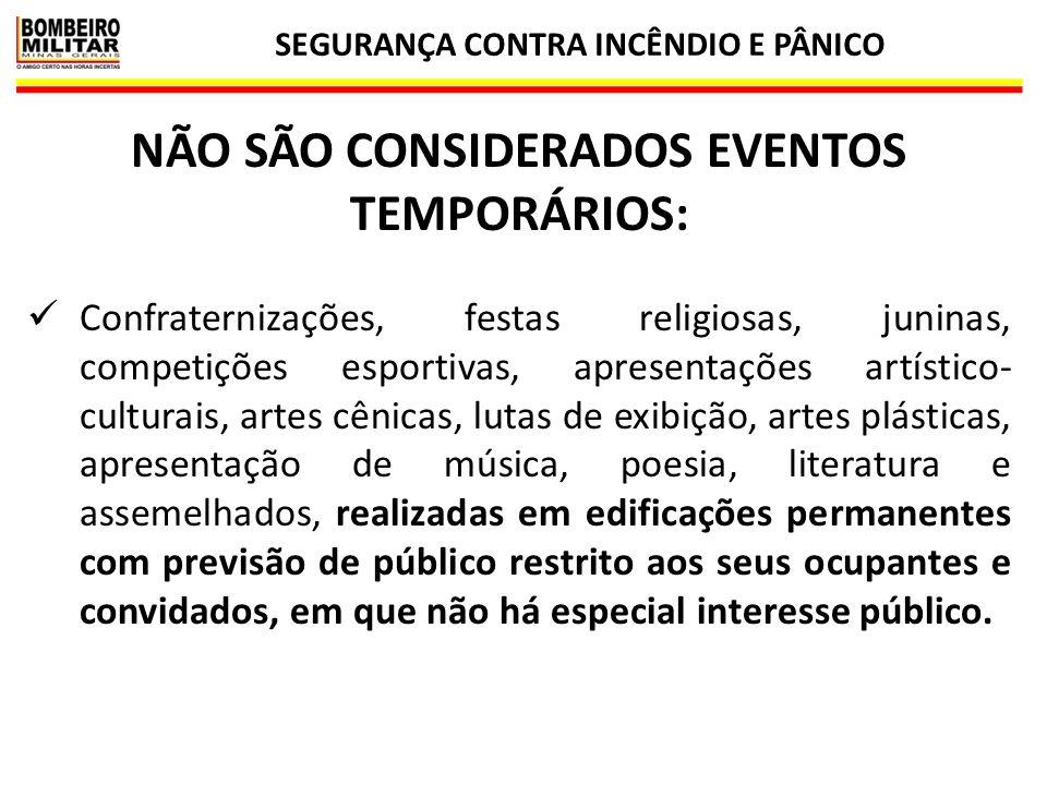 NÃO SÃO CONSIDERADOS EVENTOS TEMPORÁRIOS: