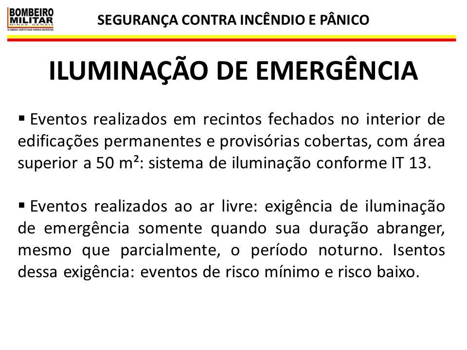 SEGURANÇA CONTRA INCÊNDIO E PÂNICO ILUMINAÇÃO DE EMERGÊNCIA