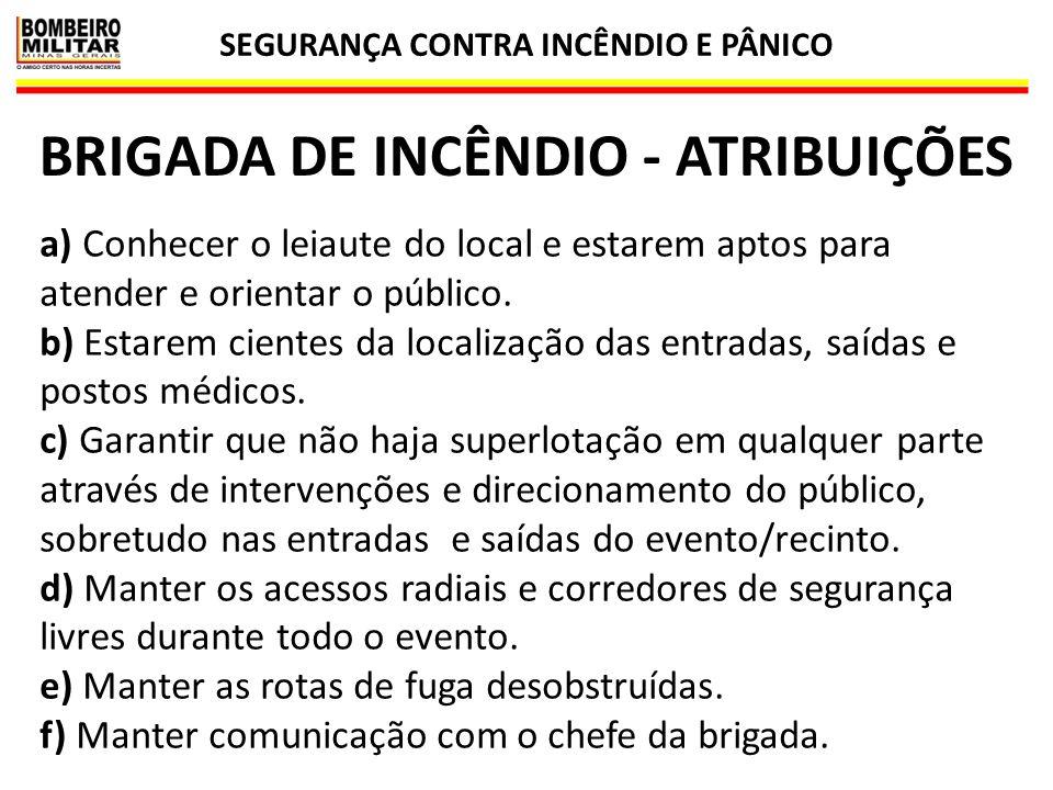 SEGURANÇA CONTRA INCÊNDIO E PÂNICO BRIGADA DE INCÊNDIO - ATRIBUIÇÕES
