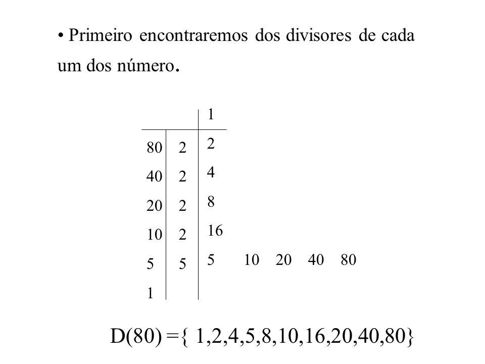 Primeiro encontraremos dos divisores de cada um dos número.