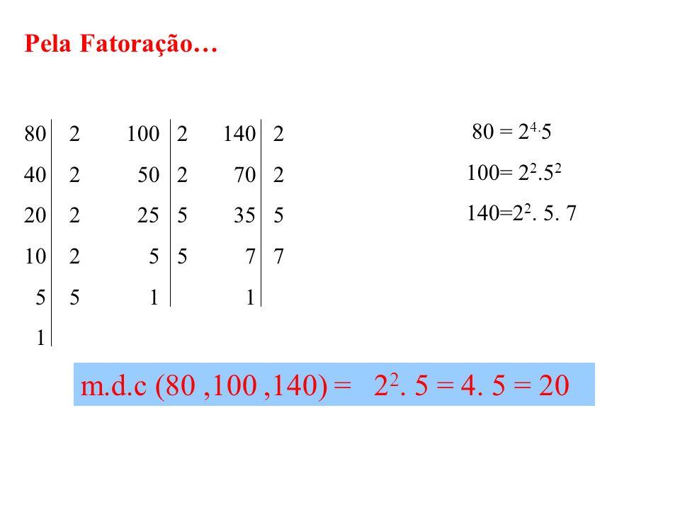 m.d.c (80 ,100 ,140) = 22. 5 = 4. 5 = 20 Pela Fatoração…