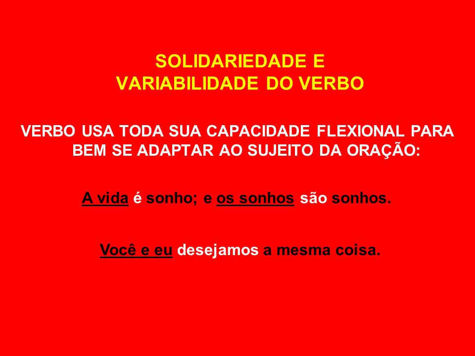 SOLIDARIEDADE E VARIABILIDADE DO VERBO