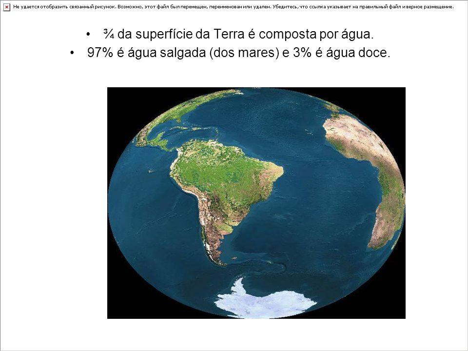 ¾ da superfície da Terra é composta por água.