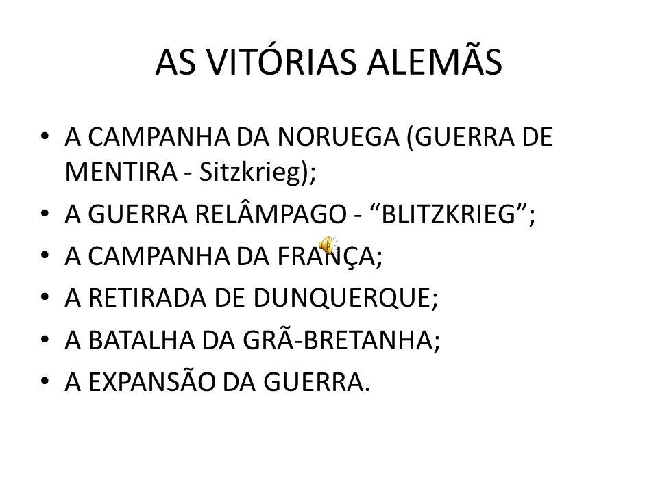 AS VITÓRIAS ALEMÃS A CAMPANHA DA NORUEGA (GUERRA DE MENTIRA - Sitzkrieg); A GUERRA RELÂMPAGO - BLITZKRIEG ;